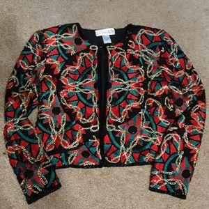 Vtg 80s Red Blk & Green Native Jacket sz S